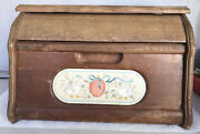 """Vintage Bread Box/pie Storage Wooden Carved Box Drop Top Front"""" Swan Themed"""