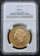 1904 20 Gold Double Eagle Gleaming Ngc Graded Ms 64 Gold 20 Coin Free Shipping