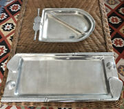 Lot Of 2 Vintage Pewter Serving Trays Golf And Tennis Theme - Think Spring