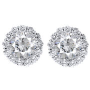 Screw Back 1.55ct Diamond 14k White Gold Studs And Earring Halo Jackets