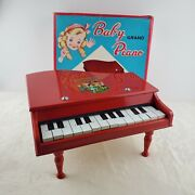 Vintage Baby Grand Piano Toy 14 Keys Red Ring A Round A Rosy With Box Japan