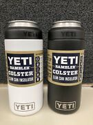 Lot Of 2 Yetis Black And White Ramblers 12 Oz Colster Slim Can Koozy Insulator