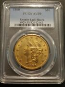 1860 20 Gold Liberty Pcgs Au50 -granite Lady Hoard - Great Color And Nice Appeal