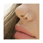 Gold Nose Ring, 14k Solid Yellow Gold Tribal Nose Hoop, Indian Style Piercing...