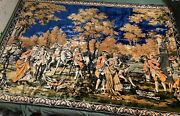 """Vintage Large French Tapestry Wall Hanging 72""""x49"""""""