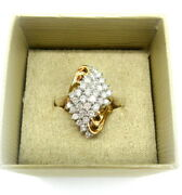 Genuine 2ct Round Diamond And 10k Yellow Gold Waterfall Cocktail Ring Size 8