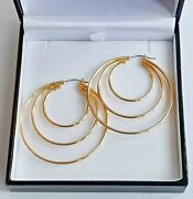 18ct 750 Yellow Gold 3 Ring Round Hoop Earrings 45mm Large 5.7g Snap Closure