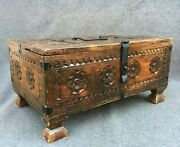 Large Antique French Folk Art Trunk Chest Box 19th Century Wood Iron Woodwork