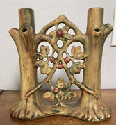Rare Weller Pottery Woodcraft Double Candleholder Candle Stick