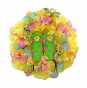Yellow Summer Spring Flip Flop Welcome Deco Mesh Wreath Lime Green Pink Turq...