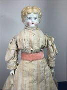 """19"""" Antique Porcelain German Made China Head Low Brow Hertwig Blonde 1900-25 A"""