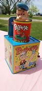 Vtg 1953 Popeye In The Music Box Jack In The Box Tin Litho Hand Wind Toy