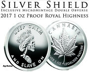 Slave Queen 7 - 1 Oz 2017 Royal Highness Obverse Proof Silver Shield Cannabis