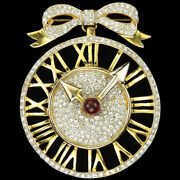 Castlecliff Gold Pave Clock Face With Moveable Hands Pendant From Bow Pin