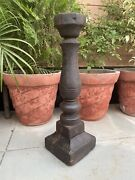 Ancient Wooden Hand Carved Fine Candle Stand Oil Lamp Holder Pillar Rare