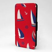 For Mobile Phone Flip Case Cover Nautical Sail Boat Collage - S1060