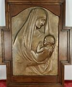 Virgin Mary With The Child. Frederic Mares. Bronze Sculpture. Xxth Century