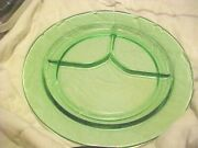 Green Depression Glass Grill Plate Portion Divided Plain Vintage Never Used