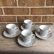 Vintage Black And White Espresso Cups With Saucers Subway Tile Design, 4 Sets