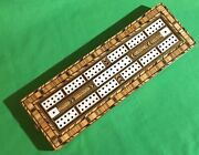 Old 1800s Antique Inlaid Wooden Playing Cards Cribbage Board Card Game Superb