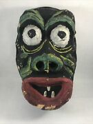 Vintage Ghost Ghoul Goblin Hand Made Paper Mache Mask 1920s Halloween Art