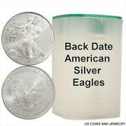 Roll Of Back Date 1oz Silver Eagles .999 Fine Silver 20 Coins In A Roll
