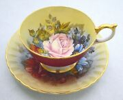 Aynsley England Pink Rose Signed By Bailey Red Cup Saucer Set
