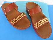 Fitflop Amsterdam Wo's Sandals Brown Leather Gold-tone Studs Size 7 Wedge Slides