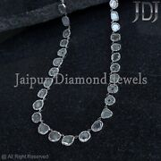 Tcw 23.8 Polki Diamond Matinee Necklace 925 Sterling Silver Jewelry Mother Gift