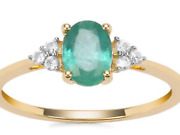 Superb 0.84ct Zambiaandrsquos Emerald With White Zircon Accents 9k Gold Bnwt P/q