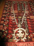 Stunning Navajo Sand Cast Silver Naja And Squash Blossom Necklace Old And Rare