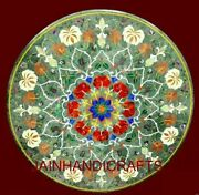 30and039and039 Marble Table Top Antique Inlay Center Coffee Round Malachite Room Decor G26