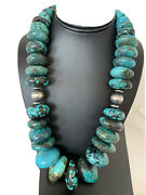 Mens Xlnavajo Pearl Grad Sterling Silver Natural Blue Turquoise Necklace01842