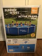 """Summer Waves 15ft Active Metal Frame Pool With 600gph Filter Pump 15'x33"""""""