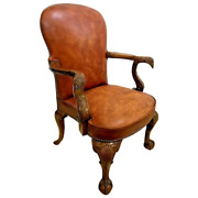 Vintage Eagle Carved Arm Chair Walnut Brown Leather Eagle Ball Claw Brass Tack