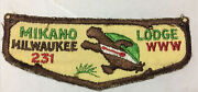 Boy Scout Oa Vtg Lodge Mikano Milwaukee 231 Order Of The Arrow Flap Patch