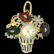 Mazer Gold And Pave Fruit Salad Flowers A Basket Flower Pot Fob Watch Pin