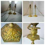 Pair Antique 1920s 1930s Brass Candlestick Lamps Gothic Wicca Pagan Faces Church