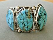 Large Native American Indian 3-stone Turquoise Sterling Silver Cuff Bracelet Sd
