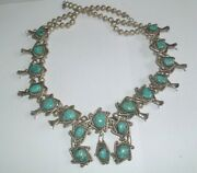 Old Pawn Morenci Turquoise Sterling Silver Squash Blossom Necklace 330 Grams