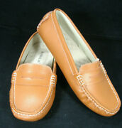 Sunrolan Srl Womens Brown Leather Penny Loafer Moccasin Casual Flats Shoes Sz 11