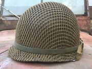 Wwii M1 Helmet Front Seam Swivel Bale W/ Net And Westinghouse Liner