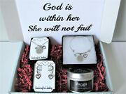 God Is Within Her She Will Not Fail Gift Box W/ Jewelry And Candle Motivational