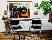 1983 Leather And Chrome Mies Van Der Rohe Mr20 Bauhaus Cantilever Chairs Knoll
