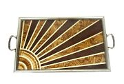 Very Rare French Art Deco Sunray Cocktail Serving Tray Geometric Glass 1930