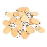 50x20pcs Blank Wooden Key Chain Diy Wood Keychains Key Tags Gifts Yellow Oval