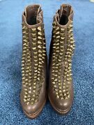 Jeffrey Campbell Handmade Brown Leather Spike Boots Sz 7m