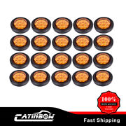 20x Amber Side Marker Light 2 Round 9 Led Incandescent Clear For Truck Trailer
