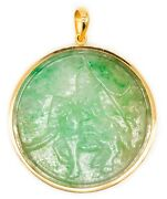 Gia Certified Carved Jadeite Green Jade Pendant 18 Kt Yellow Gold 102.27 Carats