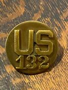 Wwii Screw Back 132nd Artillery, 36th Div. Dui And Number Collar Insignia Set.